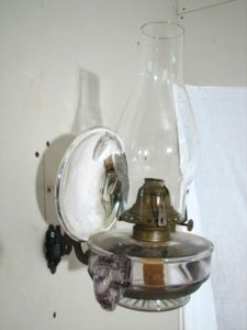 Antique Mercury Glass Oil Lamp Reflector, Bracket Lamp