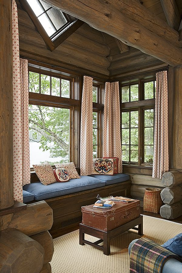 Sensational Sitting Room With Window Seat My Log Cabin Ideas Log Caraccident5 Cool Chair Designs And Ideas Caraccident5Info