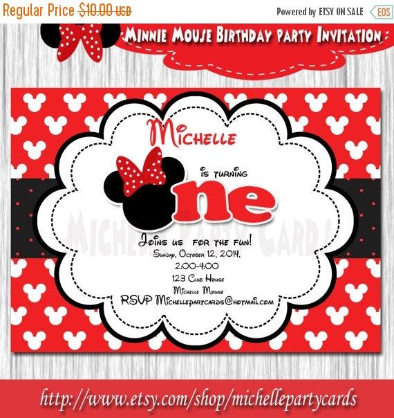 20%OFF Minnie Mouse Birthday Party-Minnie by michellepartycards