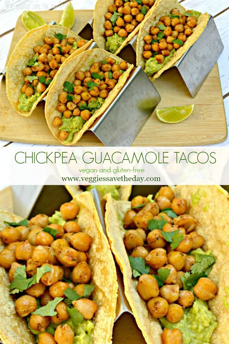 Chickpea Guacamole Tacos are vegan, gluten-free, and delicious. Try them for Meatless Monday, Taco Tuesday, or any day of the week! #chickpeatacos #vegan #glutenfree #tacotuesday #guacamole www.veggiessavetheday.com via @VeggiesSave