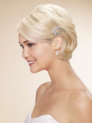 Icy Blonde Bridal Hairstyle With Crystal Hairclip On The Side Wedding Short Hair Length And Long Bangs
