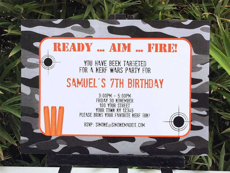 Nerf Gun Birthday Invitations Birthday Party Invitations Plus Party  Invitations In Addition To Invitation Template Gun Birthday Party Nerf Gun  Birthday ...