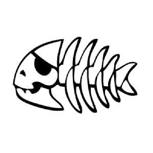Choose Color//Size Skeleton Pirate Fish Bone Vinyl Decal Sticker Fishing//Hunting