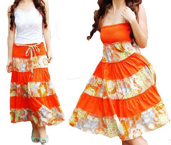 Orange Striped Summer Long Skirt Dress; can you say Fun?! Flirty ...