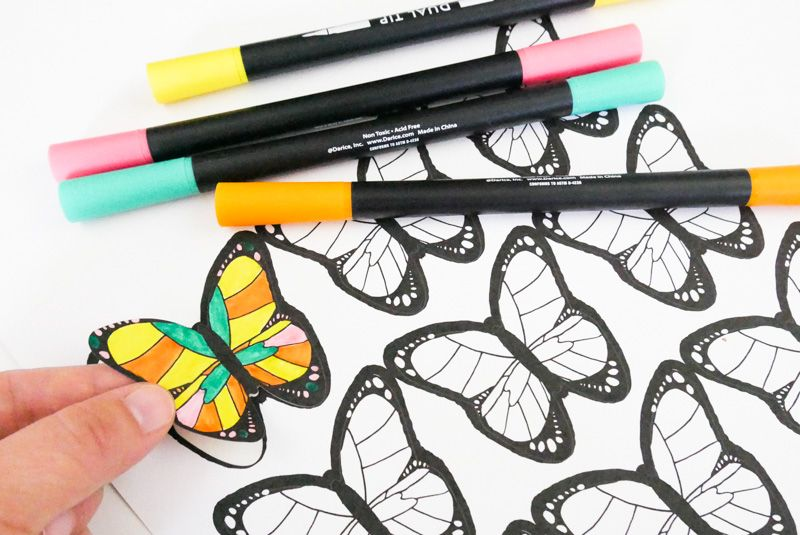 photograph relating to Colored Printable Labels named No cost Coloring Website page Butterfly Sticker Printable Absolutely free Label