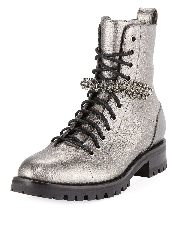 197ec3fa5e3 JIMMY CHOO CRUZ FLAT Anthracite Metallic Grainy Leather Cruz Flat Boots  with Crystal Detailing.  jimmychoo  shoes