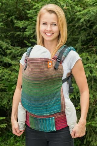 Stewed Rhubarb River Valley Forest Green Weft 1 TULA BABY CARRIER