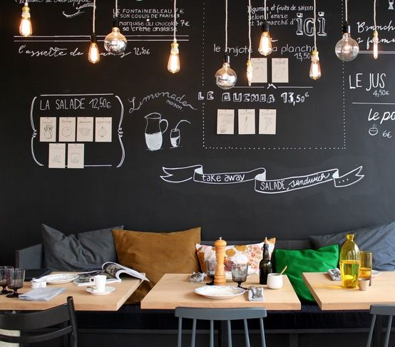 Pin By Nora Mhaouch On Dream Houses: Blackboard Hanging Lights / Dining Space