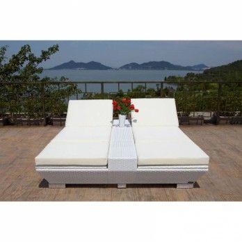 Schick Doppel Liege aus Polyrattan weiß - Gartenmöbel von Garten