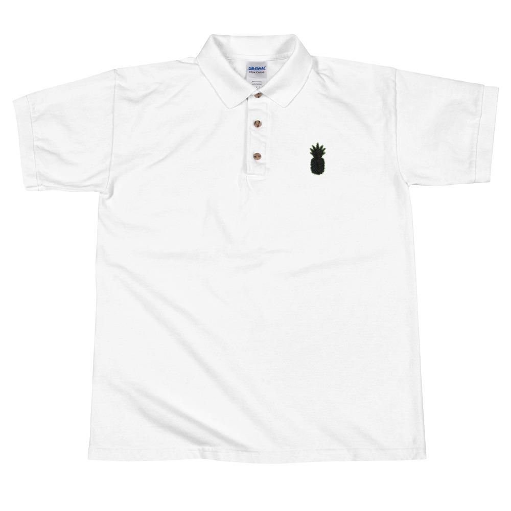 Mens Black Pineapple Logo Embroidered Cotton Polo Shirt Products