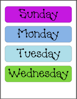 Great Calendar Set Up Free Days Of The Week Months Year Templates