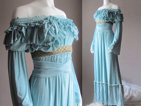 Ethereal and elegant handmade dress, ruffled top and delightfully draped skirt.