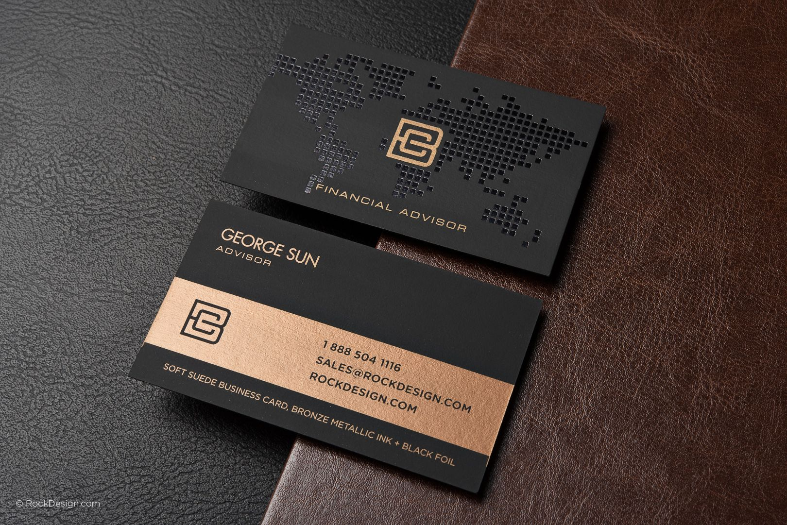 Elegant soft suede business card with metallic ink and foil stamping ...