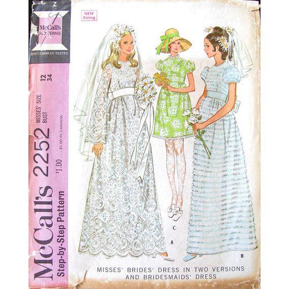 1960s Empire Wedding Dress Pattern McCalls by finickypatternshop