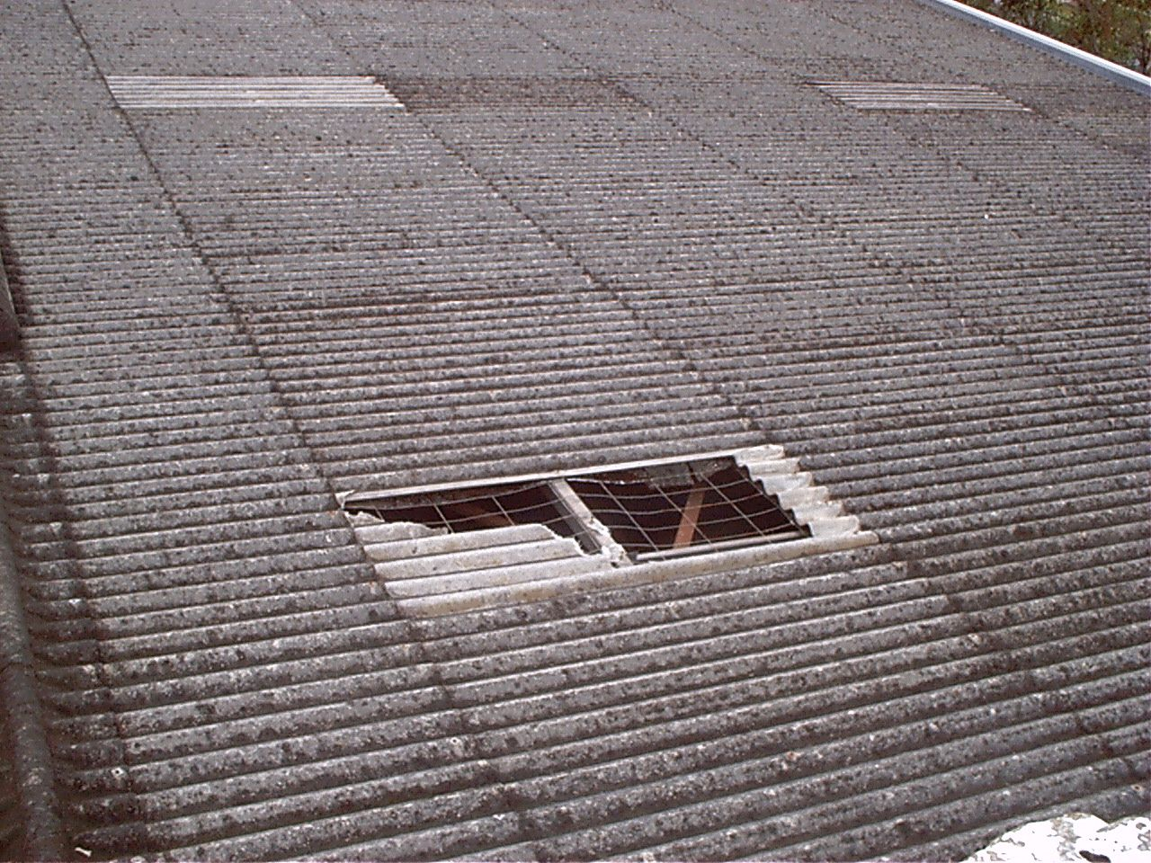 Asbestos Cement Roof Cladding With Broken Skylight Roof Cladding Skylight Asbestos