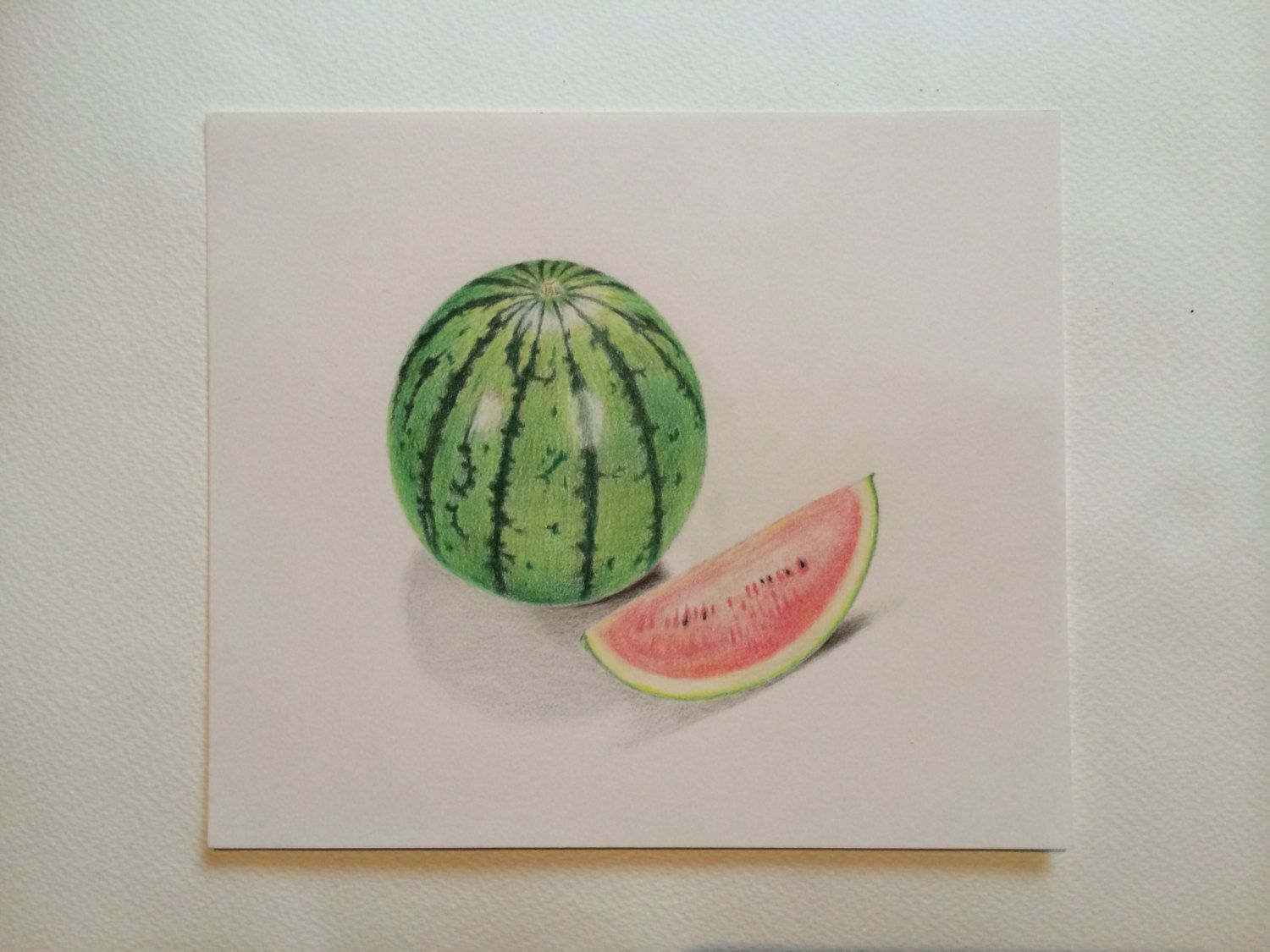 Watermelon Colored Pencil Drawing ,still Life Painting ,kitchen Art By  SuayaArt On Etsy
