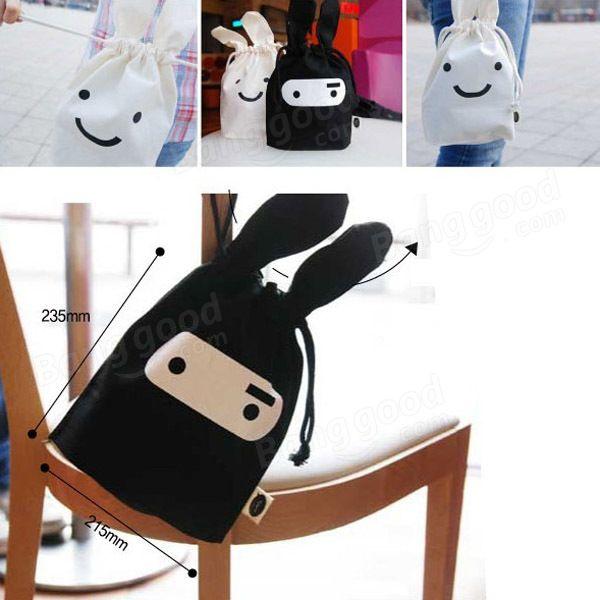 47c06afd09c0 Cute Ninja Rabbit Cloth Tied Mouth Daily Sundries Storage Bag Stuff ...