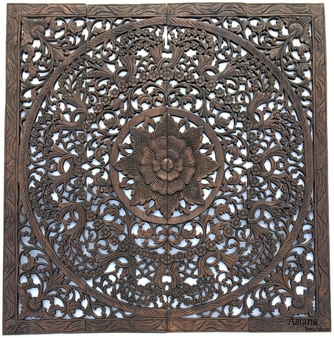 Elegant wood carved wall plaque wood carved floral wall art asian