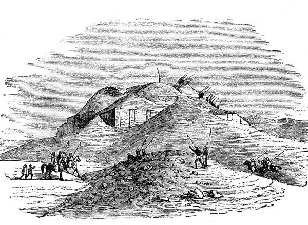 Drawing of Tell el-Muqayyar before excavation - a tell is a mound under which is often found a whole civilization when excavated.  This tell or mound was the place where Woolley began to dig and discovered the ancient city of Ur.  The ziggaraut is partially uncovered.