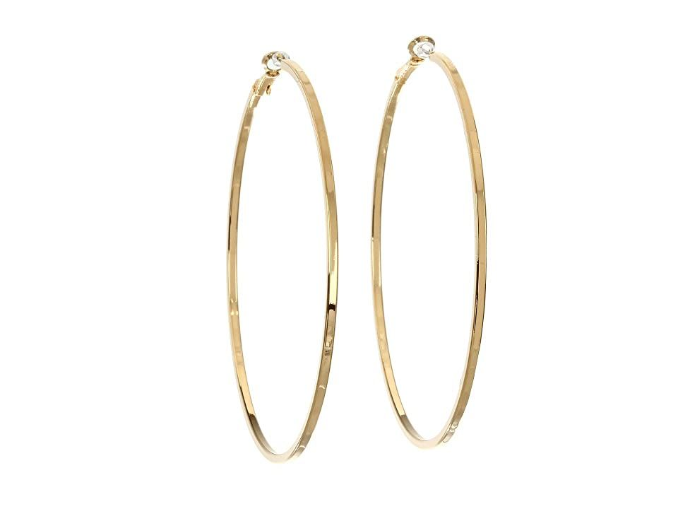 GUESS Square Edge Hoop (Gold) Earring. Go classic with these versatile GUESS hoops. Classic hoops feature an oversize silhouette with squared-off edges. Post back. Imported. Measurements: Width: 1 8 in Height: 3 in Diameter: 3 in Weight: 0.26 oz #GUESS #Jewelry #Earring #GeneralEarring #Gold