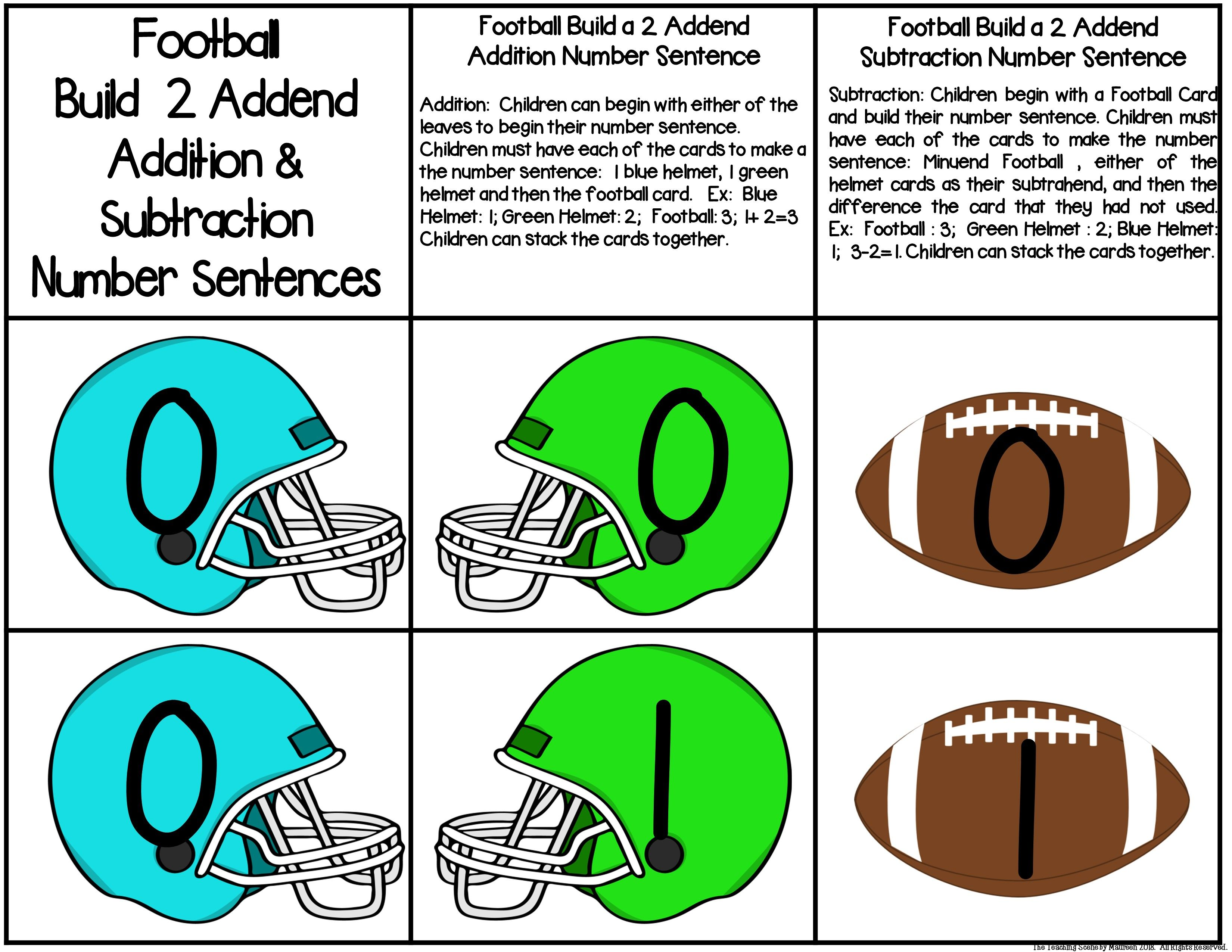 Football Build 2 Addend 0 20 Addition Amp Subtraction Number
