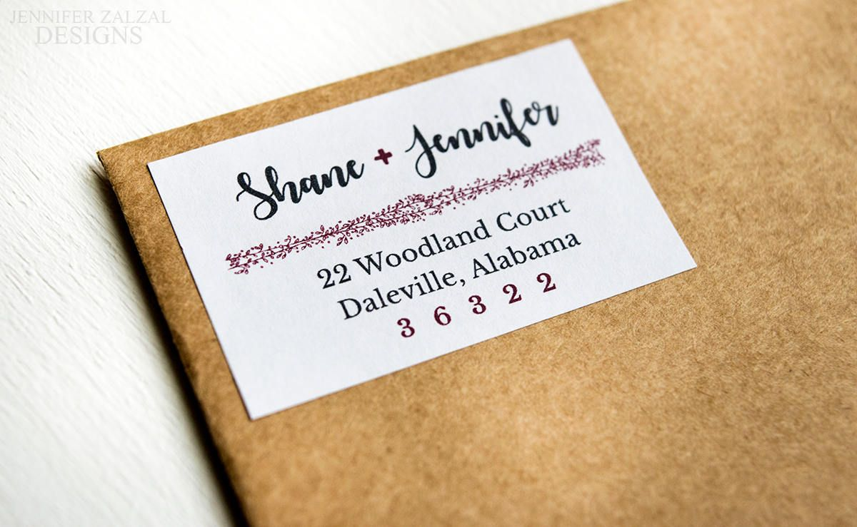 rustic address labels couple
