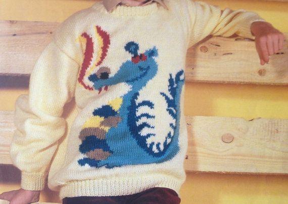 Dragon sweater knitting pattern for children men and women