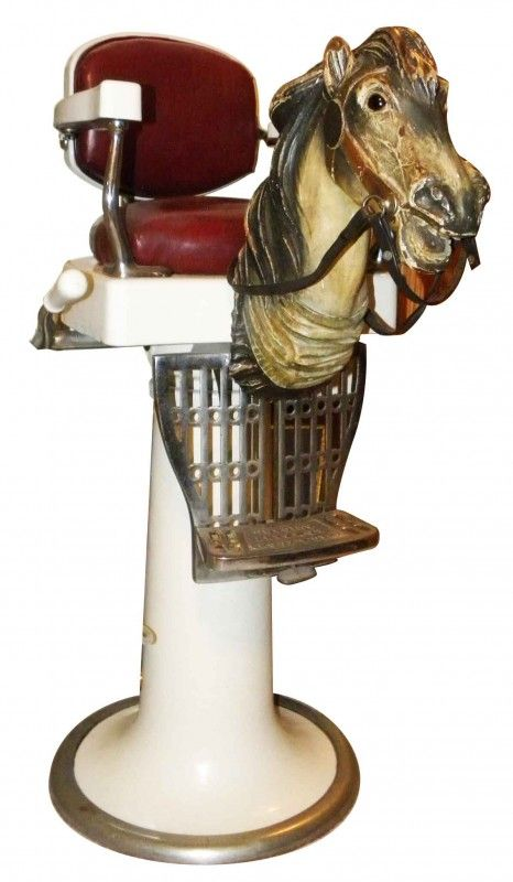1431: Koken Childs Barber Chair With Carved Horse Head On LiveAuctioneers