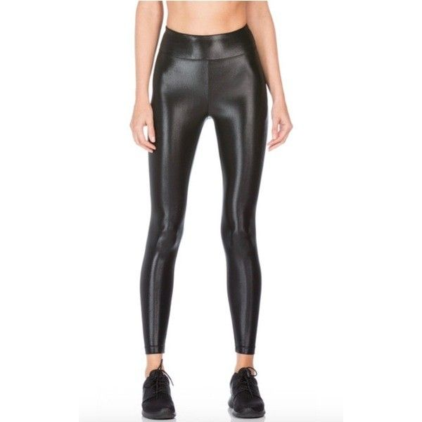 Koral High Waisted Lustrous Legging ($88) ❤ liked on Polyvore featuring pants, leggings, white high waisted leggings, high rise pants, white leggings, shiny white leggings and white pants