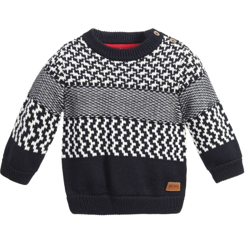 2d7342f5e3d5 Baby Boys Navy Blue Patterned Knitted Sweater