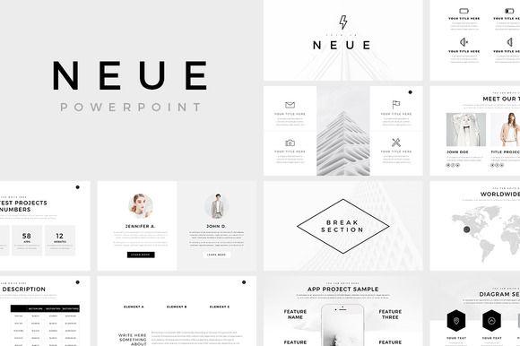 neue minimal powerpoint templateslidepro on @creativemarket, Powerpoint templates