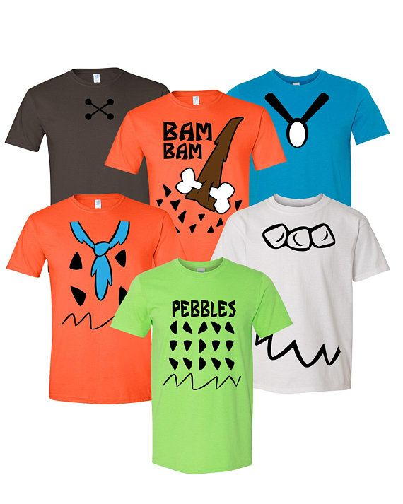 Flintstones Adult, Youth, Toddler Inspired Cosplay Costumes T Shirt - For Family, Cruise Events-Fred-Bam Bam-Pebbles-Wilma-Betty-Barney #pebblesandbambamcostumes