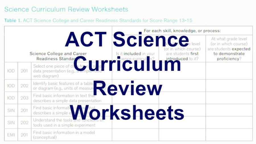 Compare your curriculum to ACT Science College and Career