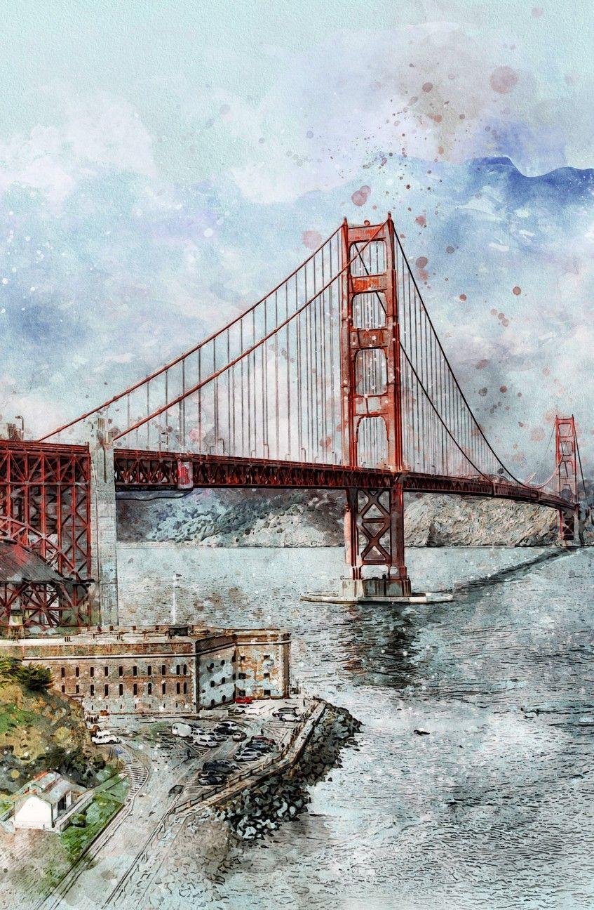 Golden Gate Bridge Canvas San Francisco City Art Modern Etsy Golden Gate Bridge Canvas San Francisco Golden Gate Bridge Golden Gate