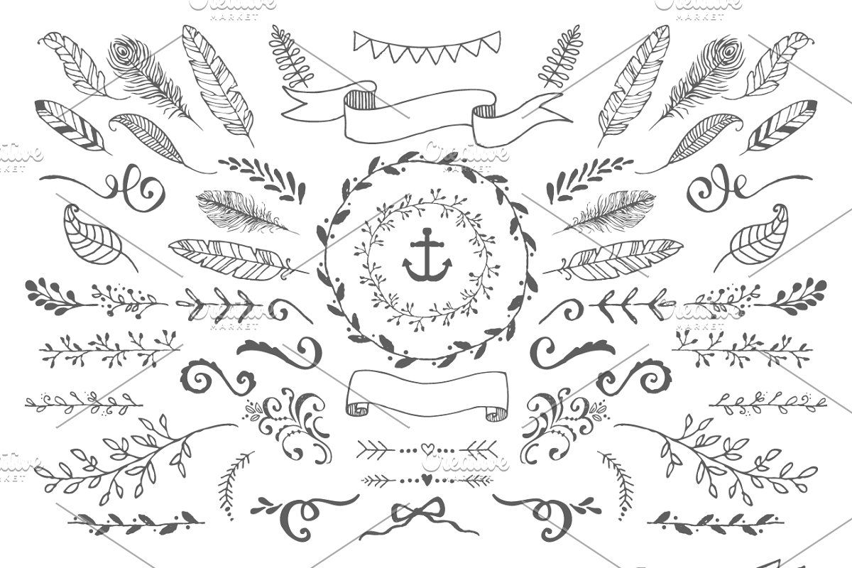 Handsketched Vector Elements Pack By Nicky Laatz On Creativemarket Hand Sketch Creative Lettering Book Art [ 800 x 1200 Pixel ]