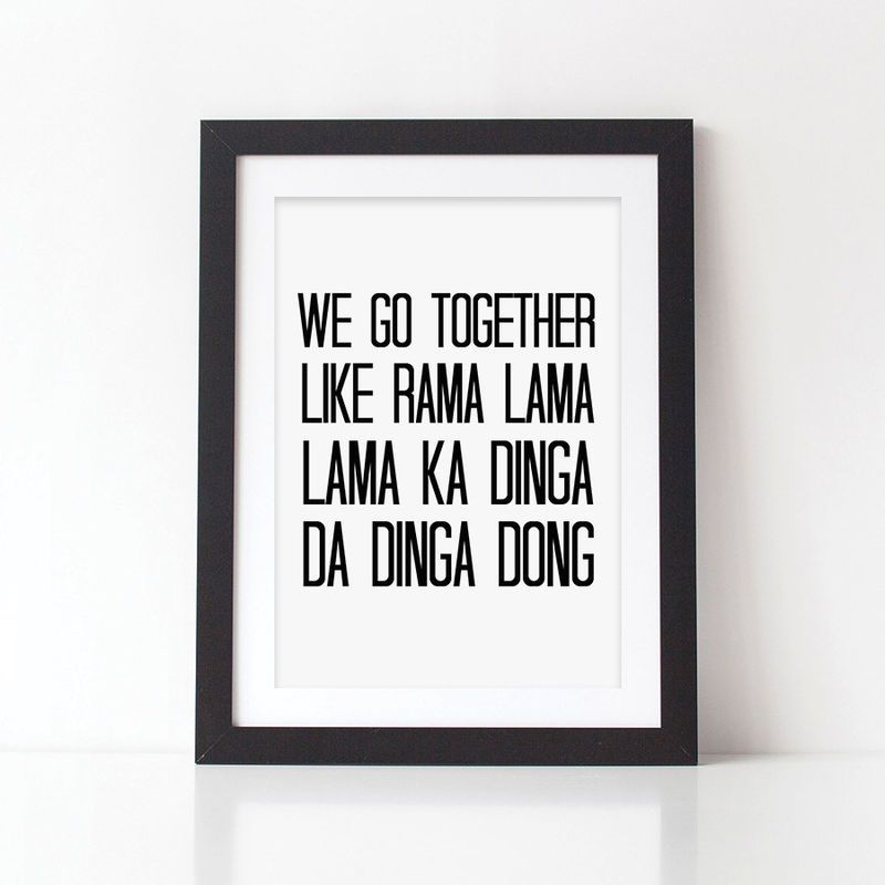 Grease Lyrics Print - We Go Together Quote Print - Monochrome ...