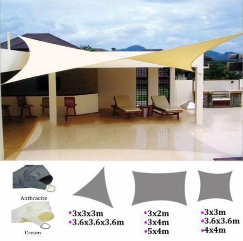 Sun Shade Sail Patio Extérieur Piscine Pelouse Rectangle//triangle Couverture UV Block