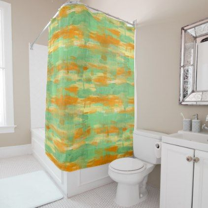 Brown Green Burnt Orange White Watercolor Stripes Shower Curtain