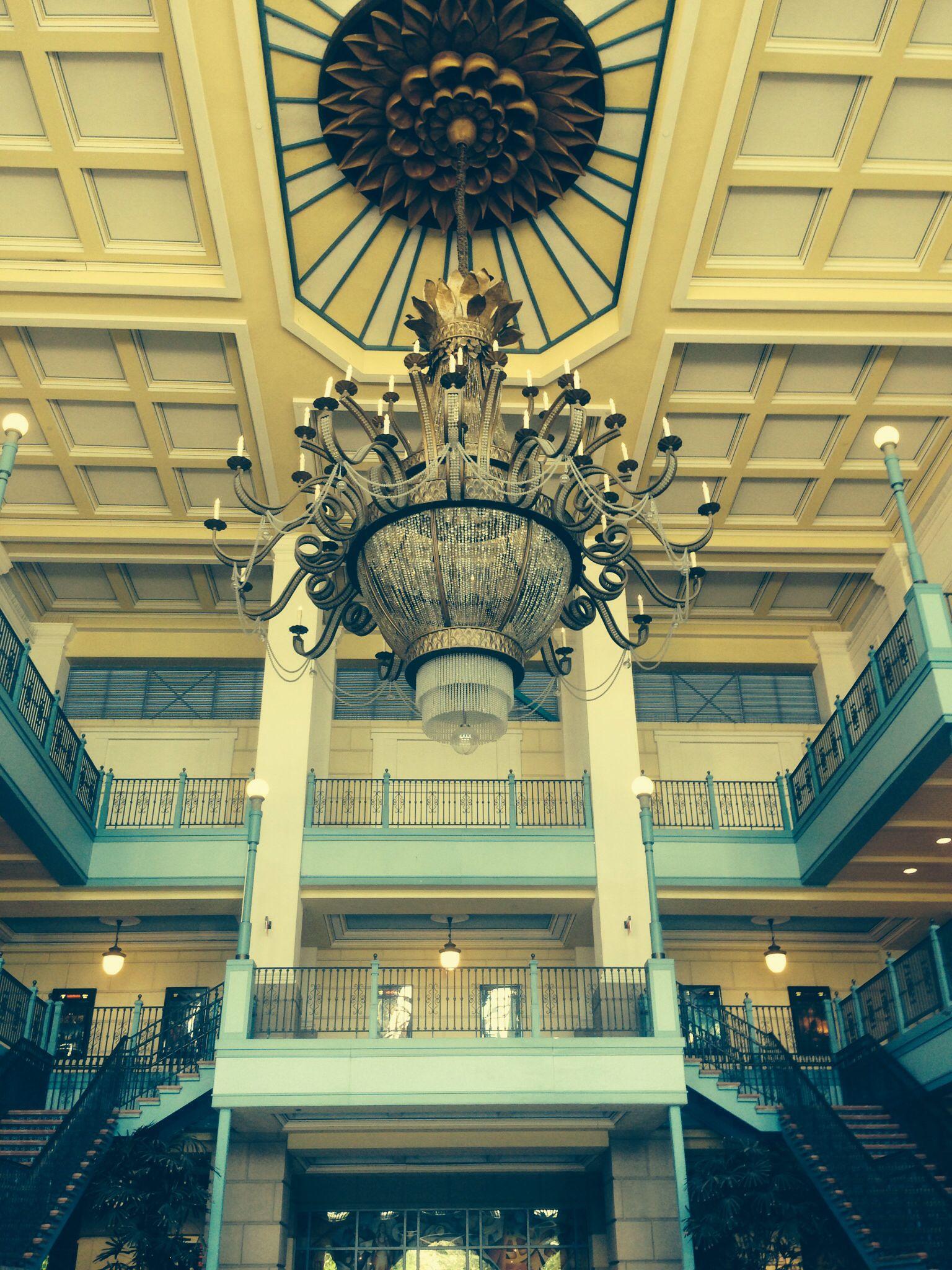 Massive crystal chandelier outside movie theater baton