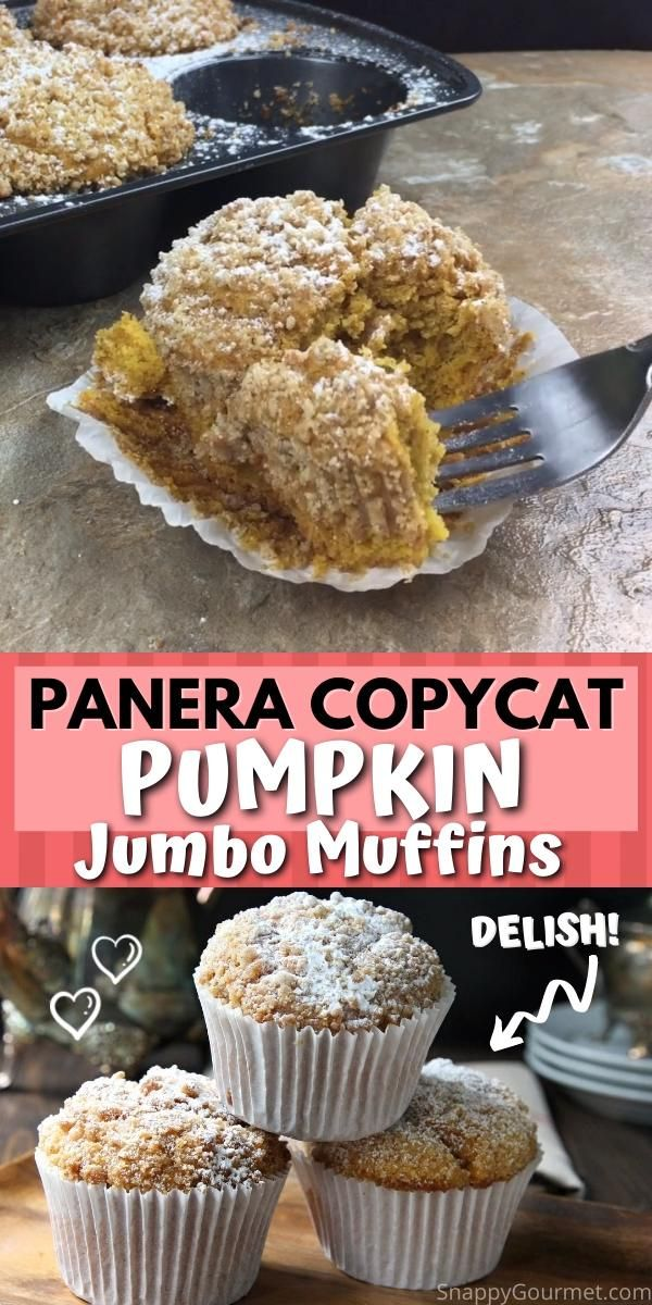 Panera Copycat Pumpkin Muffins recipe - easy homemade jumbo muffin recipe (or make in regular size tin). These moist from scratch muffins are full of pumpkin and a crumb topping and perfect fall breakfast, snack, or dessert. recipe @SnappyGourmet.com #SnappyGourmet #Pumpkin #Panera #Copycat #Muffin