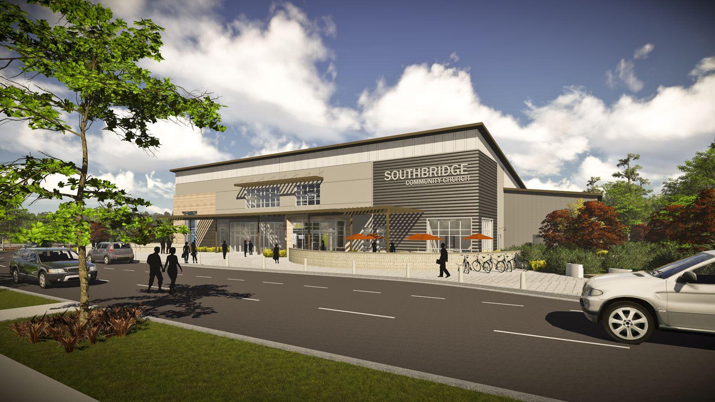 Conceptual exterior design for southbridge community for Church exterior design ideas