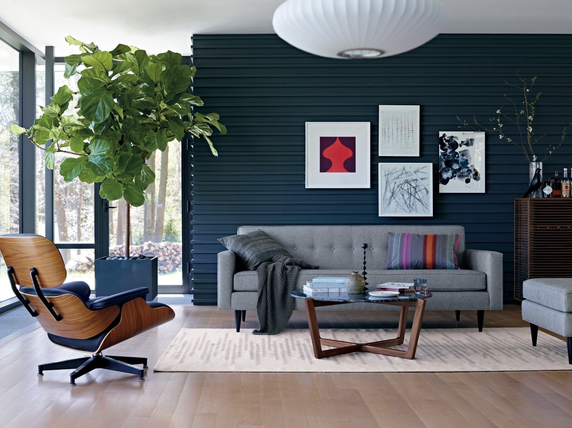 like the gray couch against navy wall from dwr fb post living