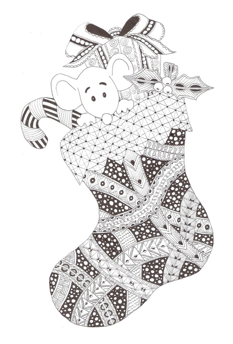 Zentangle Christmas stocking made by Mariska den Boer