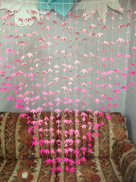 Ombre Pink Paper Flower Backdrop Ombre Pink Paper Flower Curtain Paper Flower Garland Free Shipping Paper Flower Backdrop Paper Flowers Paper Flower Garlands