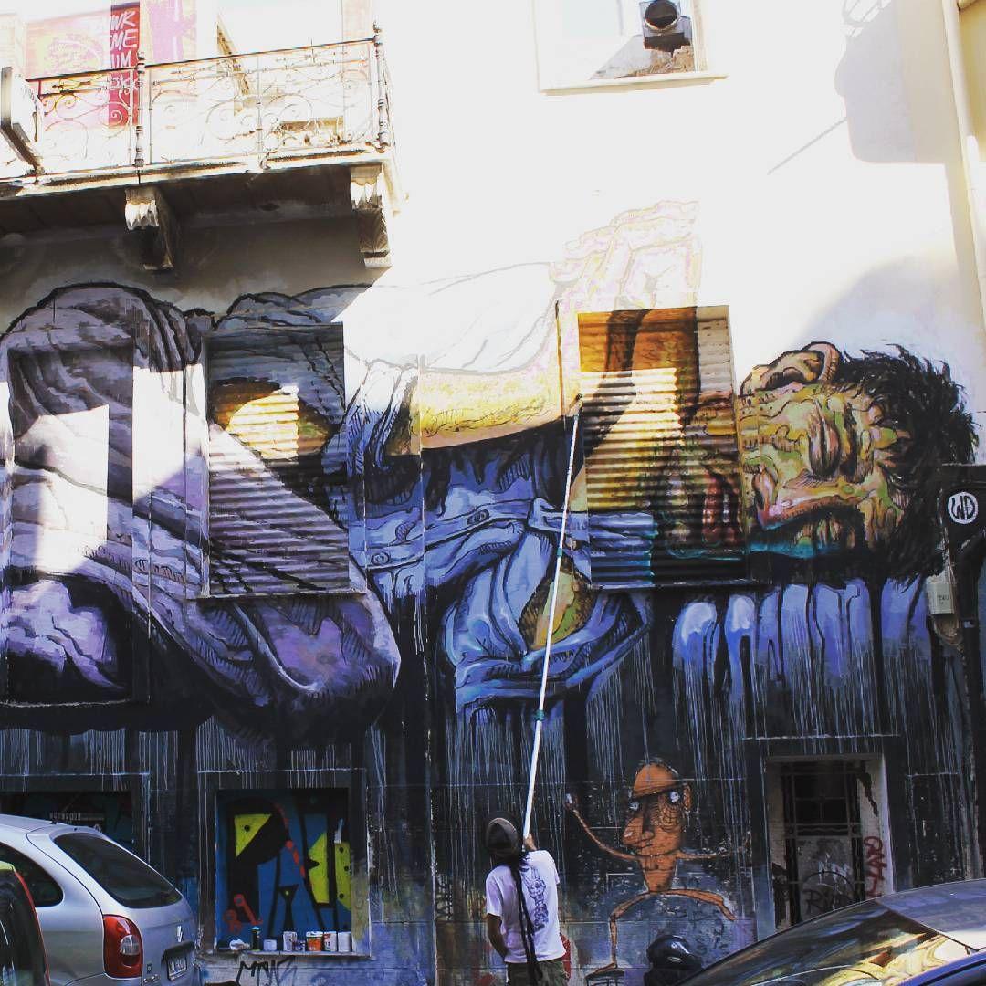 in progress #streetart #wd_wilddrawing #mural #rollerbrush #homeless #athens #streetartathens #wdstreetart #graff #exarheia #greece #greferendum