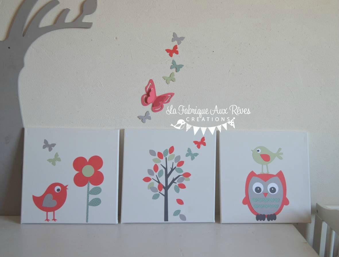 tableaux cadres d coratifs b b enfant arbre hibou oiseaux. Black Bedroom Furniture Sets. Home Design Ideas
