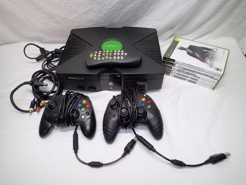 Original Xbox Console w/ 2 Controllers, 5 Games, Cords, DVD