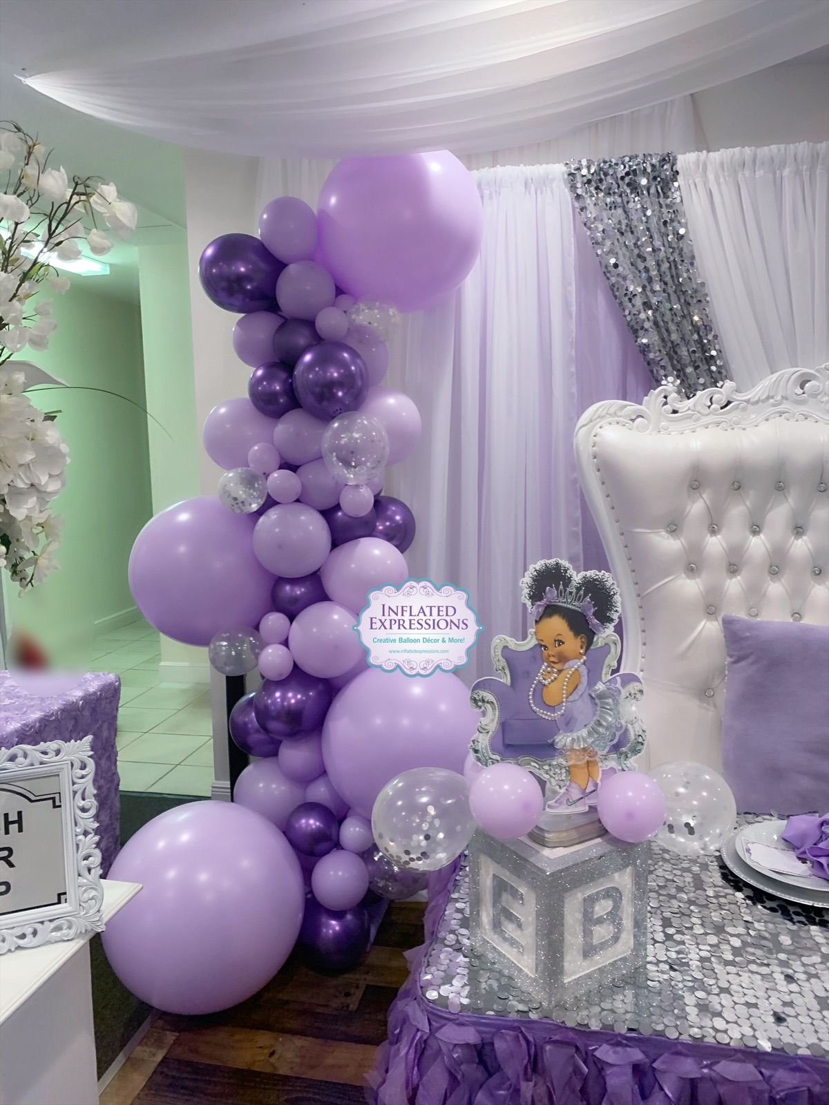 Purple Baby Shower Themes For Girls : purple, shower, themes, girls, Organic, Balloon, Garland, Column, Shower, Decorations, Themes,, Decorations,, Lavender, Showers