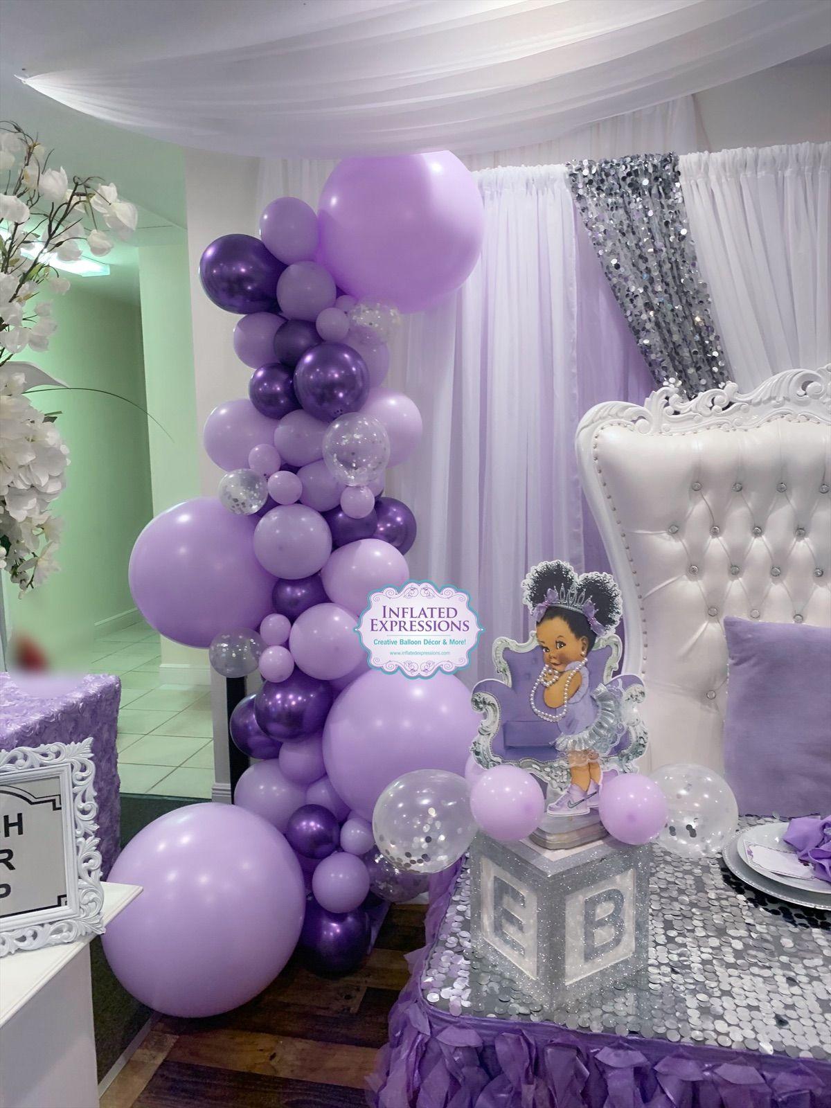Purple Baby Shower Themes For Girls : purple, shower, themes, girls, Organic, Balloon, Garland, Column, Shower, Decorations, Themes,, Decorations,, Lavender, Showers