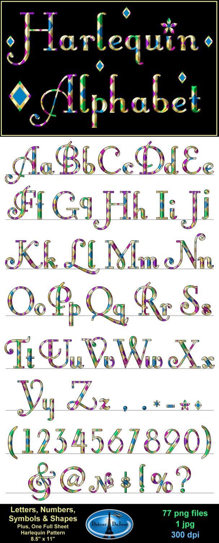 Harlequin Alphabet Letters Alphabet Clipart Harlequin Letters